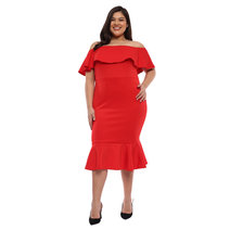 Plus Size Andrea Off Shoulder Ruffle Hem Dress by Frassino Collezione