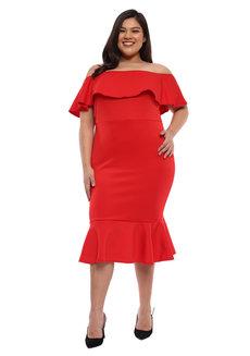 Plus Size Andrea Off Shoulder Ruffle Hem Dress by Frassino Collezione