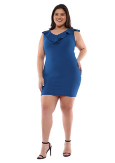 Plus Size Angelina Ruffle Bodycon Dress by Frassino Collezione