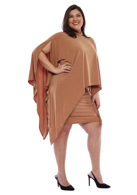 Plus Size Anisha High Neck Overlay Dress by Frassino Collezione