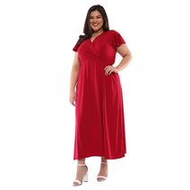Plus Size Bea Surplice Neckline High Slit Maxi Dress by Frassino Collezione