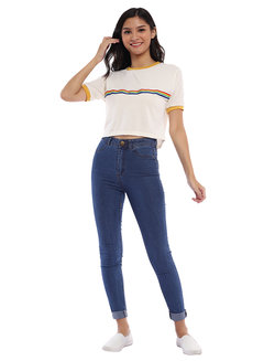 Rainbow Strip Ringer Crop Tee by Fudge Rock