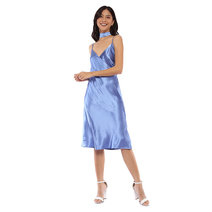 Blue Satin Dress With Multipurpose Band by Pink Lemon Wear