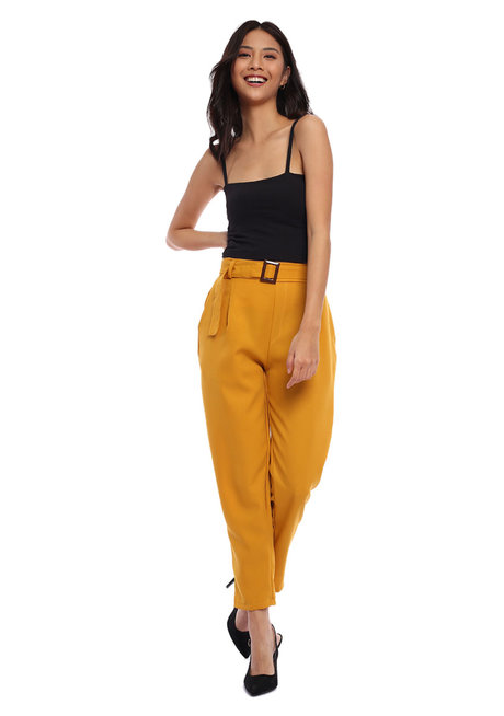 Sylvia Tapered Trousers with Cloth Belt by Morning Clothing