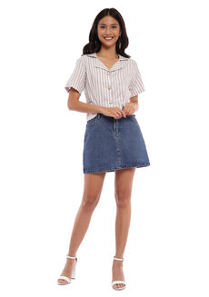 Natalie Cropped Button Down by Morning Clothing