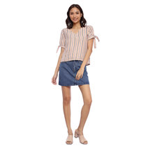 Striped Blouse with Sleeve Tie Detail by Glamour Studio