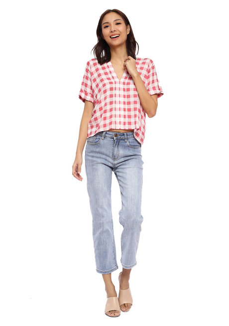 Gingham Top with Continuous Sleeve Detail by Glamour Studio