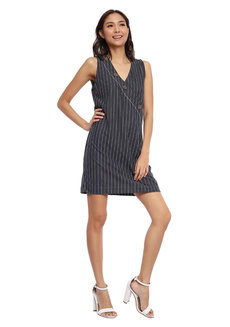 Striped Sleeveless Button Down Wrap Dress by Glamour Studio