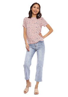 Micro Floral Printed Short Sleeve Top by Glamour Studio