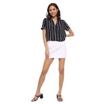 Striped Short Sleeve Wrap Blouse by Glamour Studio