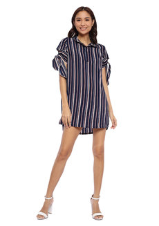 Striped Half Placket Button Down Dress with Tie Detail by Glamour Studio