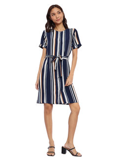 Striped Button Down Dress with Tie Detail by Glamour Studio