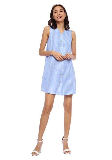 Striped Sleeveless Button Down Dress by Glamour Studio