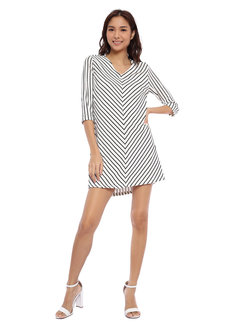 Striped Quarter Sleeve V-Neck Dress by Glamour Studio