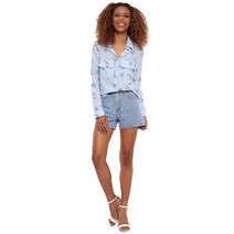 Floral Long Sleeve Button Down with Flap Pockets by Glamour Studio