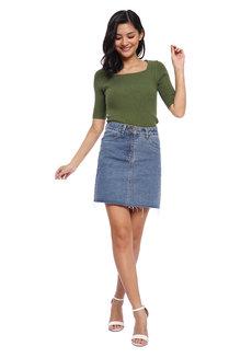 Cae Raw Hem Denim Skirt by Mantou Clothing