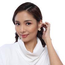 Taupe Pearl Stud Earrings by Moxie PH