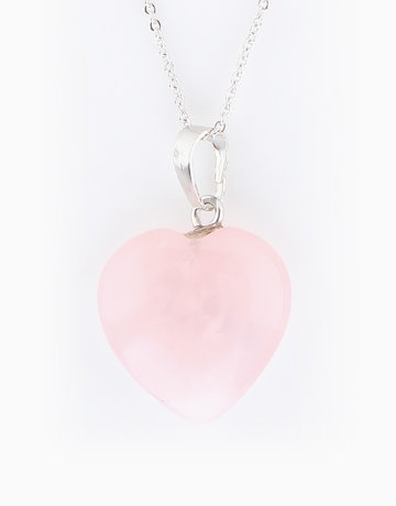 Rose Quartz Healing Heart Pendant by Crystal Beauty