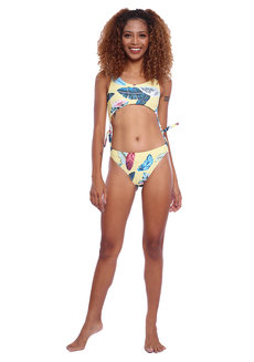 Remi Yellow Floral Print Convertible Bikini to One Piece Swimsuit by EIKA Swimwear
