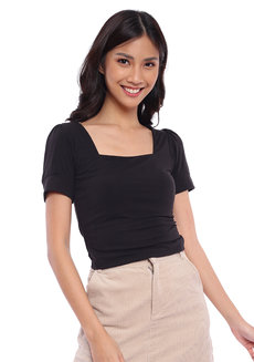 Puff Sleeves Square Neck Top by The Fifth Clothing