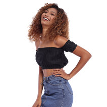Ruffled Off-Shoulder Crop Top (Black) by The Fifth Clothing