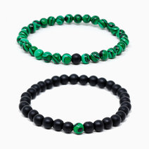 Empowered Path Malachite + Black Onyx Crystal Bracelet (Set of 2) by The Calm Chakra