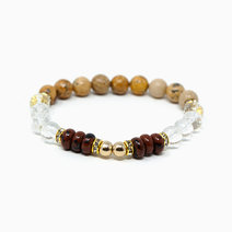 Unlock Your Power Mahogany Obsidian + Picture Jasper + Clear Quartz Crystal Bracelet by The Calm Chakra