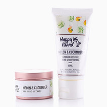 Hand & Body Lotion + Scented Candle Tin Bundle in Melon & Cucumber by Happy Island