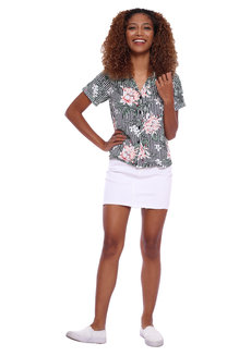 Striped Floral Resort Shirt by Glamour Studio