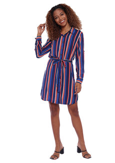 Striped Long Sleeve Button Down Shirt Dress With Tie Detail by Glamour Studio