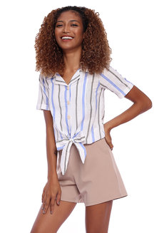 Striped Linen Shirt With Tie Front Detail by Glamour Studio