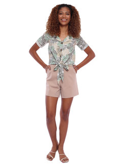 Jungle Printed Resort Shirt With Tie Detail by Glamour Studio