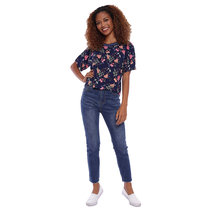Floral Printed Top with Neck Ribbing by Glamour Studio