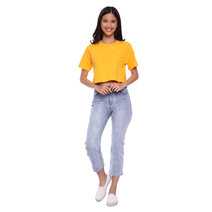 Crop Mustard Plain by Draft Clothing