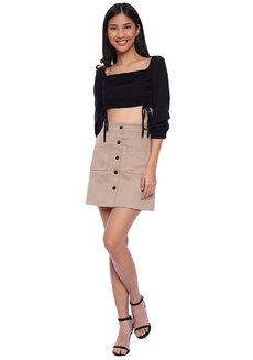 Double Ruched Long Sleeves Crop Top by The Fifth Clothing