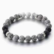 White Turquoise & Grey Jasper Diffuser Bracelet by Stones for the Soul