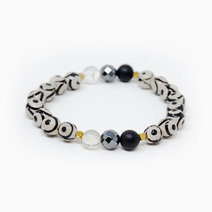 Eye of Protection - Tibetan Agate + Black Onyx + Hematite + Clear Quartz Crystal Bracelet by The Calm Chakra
