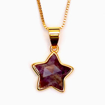 Amethyst Copper Plated Star Pendant by Crystal Beauty