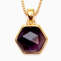Amethyst Hexagon Copper Plated Pendant by Crystal Beauty