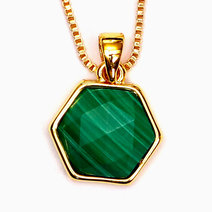 Malachite Hexagon Copper Plated Pendant by Crystal Beauty
