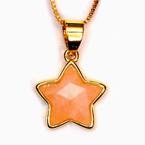 Rose Quartz Copper Plated Star Pendant by Crystal Beauty