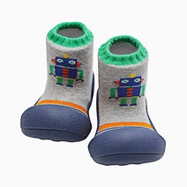 Robot Design (Navy) by Attipas Baby Shoe Socks