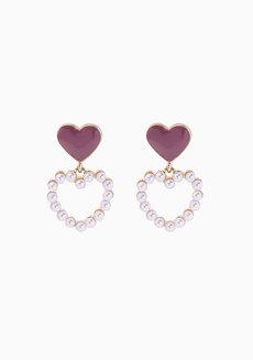 Chet Dainty Pearl Heart Dangling Earrings by Dusty Cloud
