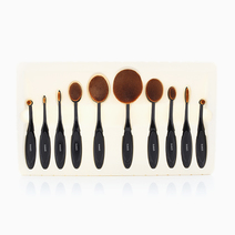 10 Pc. Oval Makeup Brush Set by Suesh