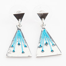 Silver/Blue Triangle Earrings by Timi