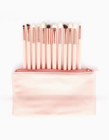 12-Piece Pink Eye Brush Set by The A-List