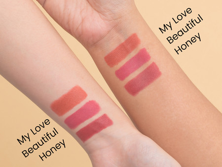 Matte lipstick swatches with label copy